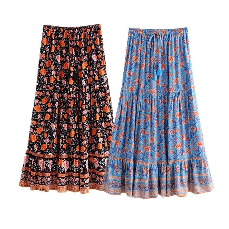 WOMEN'S Dress 2019 Autumn Bohemian Style High-waisted Elastic Big Skirt Printed Skirt