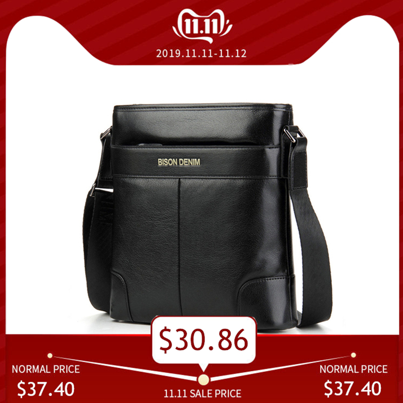 BISON DENIM Brand Male Bag Genuine Leather Shoulder Men's Bag Zipper Closed Waterproof Cowskin Casual Messenger Men Bags N2214