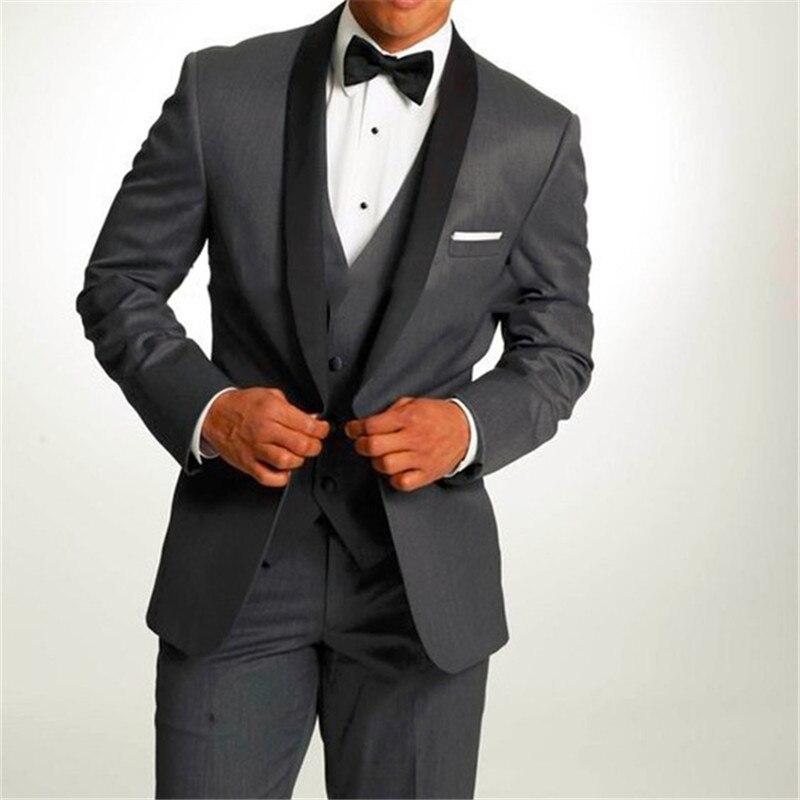 New Black Men Suit Groom Tuxedos Gray Men's Suit Peak Lapel Groomsmen Men Wedding Suits Prom Suits (Jacket+Pants+Vest+bow)