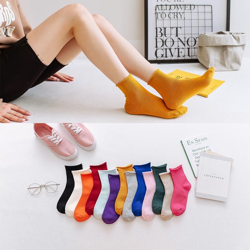 10 пар хлопковых носков, женские осенне-зимние носки, одноцветные простые носки, желтые, черные, красные повседневные праздничные подарки