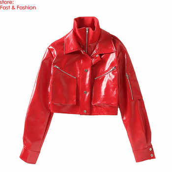 2019 New Fashion Women Sex High Street Faux Leather Jackets Lady Autumn Winter Motorcycle PU Red Loose Oversize Coats Outerwear
