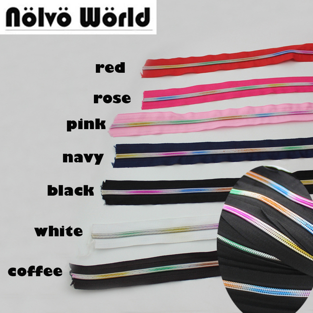 30 100 Yards 5# Nylon Teeth Zipper,7 Colors Rainbow plastic coil zippers zip for handmade bags,clothing pants sewing