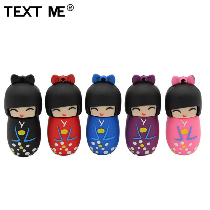 TEXT ME 64GB Cartoon Red Pink Black Blue Purple Colour Mini Japanese Dollusb Flash Drive Usb2.0 4GB 8GB 16GB 32GB Pendrive