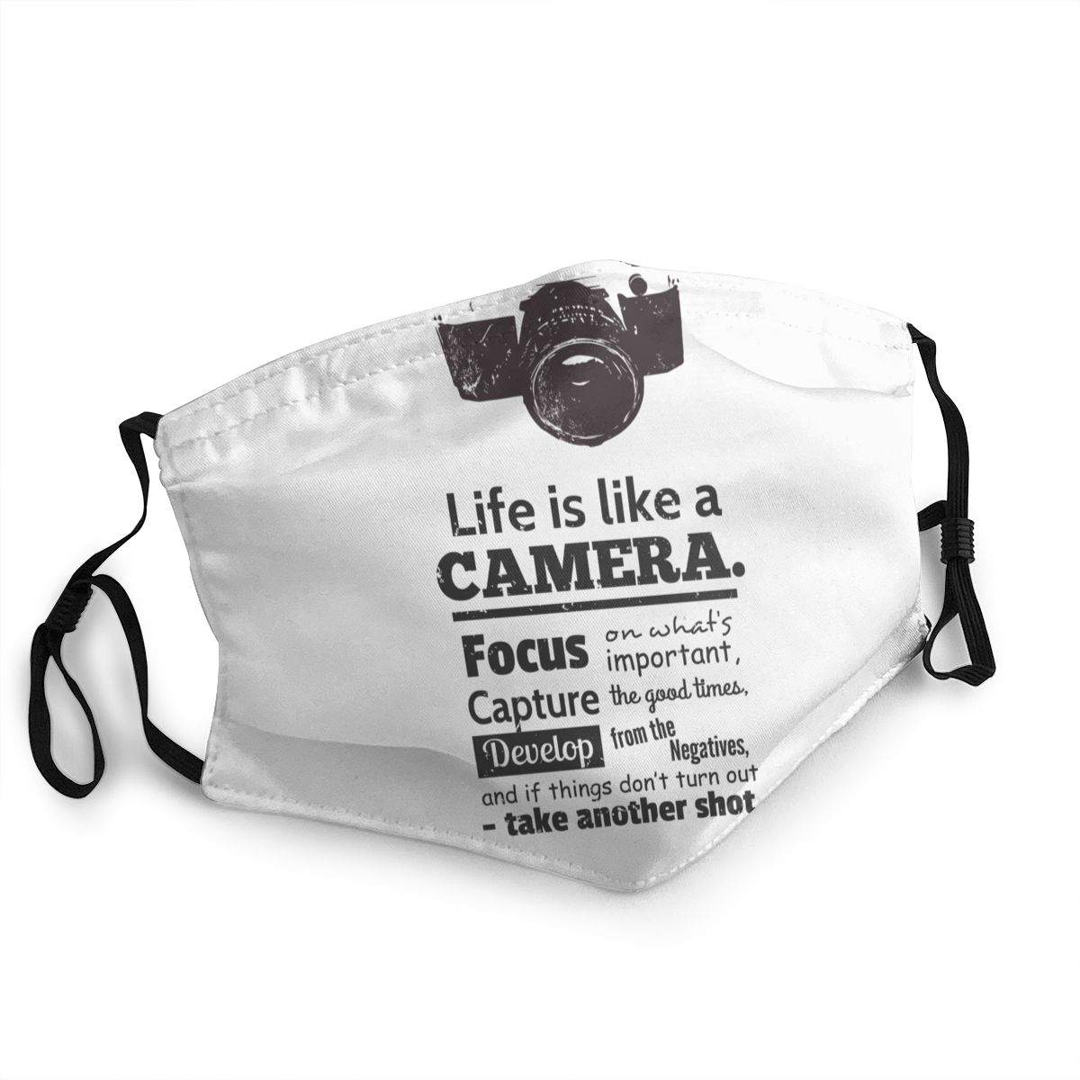 Life Is Like A Camera Reusable Face Mask Photographer Anti Bacterial Dustproof Mask Protection Mask Respirator Mouth Muffle