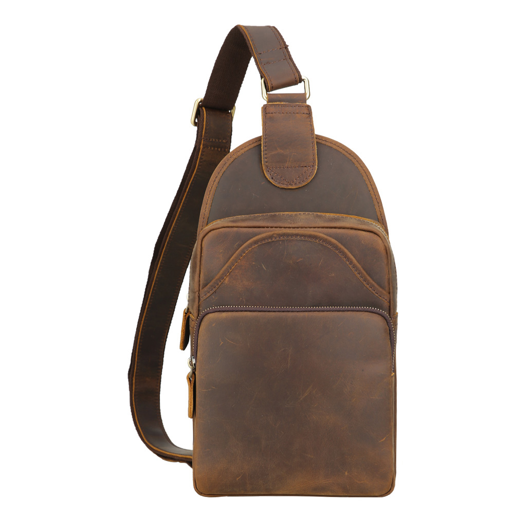 Men/'s Vintage Leather Sling Chest Pack Shoulder Bag Backpack Messenger Day Pack