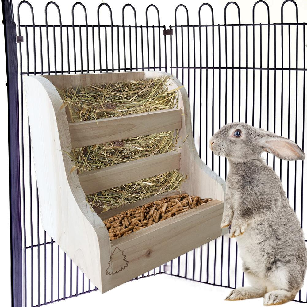 Small Animals Feeding Rabbit Hay Feeder Rack Wooden Feeding Bowl 2-In-1 Hay Feeder For Rabbit Guinea Pig Chinchillas