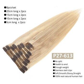 MRSHAIR Clip In Human Hair Extensions Straight 8pc Set Machine Remy Clip Ins Full Hair Brazilian Hair Blonde Clip 14 16 18 20 22 2