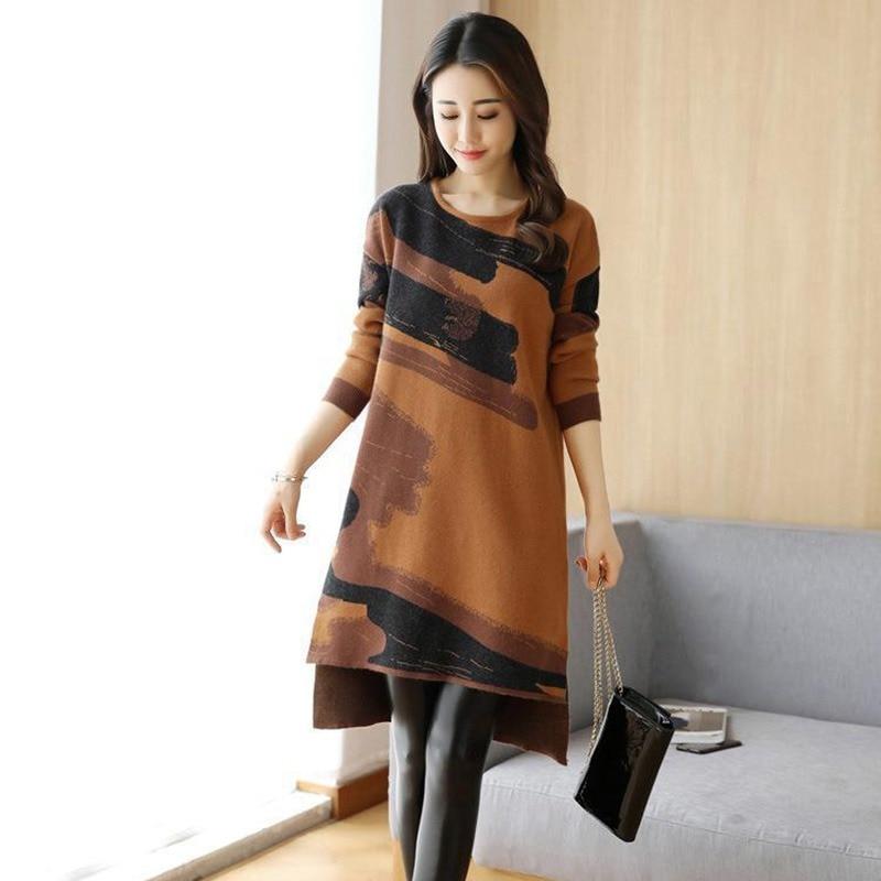 Fashion Women Long Sleeve O Neck Dress Autumn Printed Loose Casual Dress