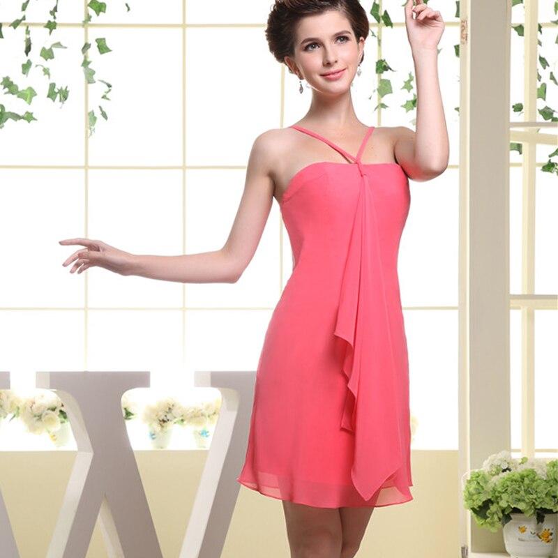 Сексуальное Простое розовое короткое платье с лямкой на шее, платье подружки невесты размера плюс - 4