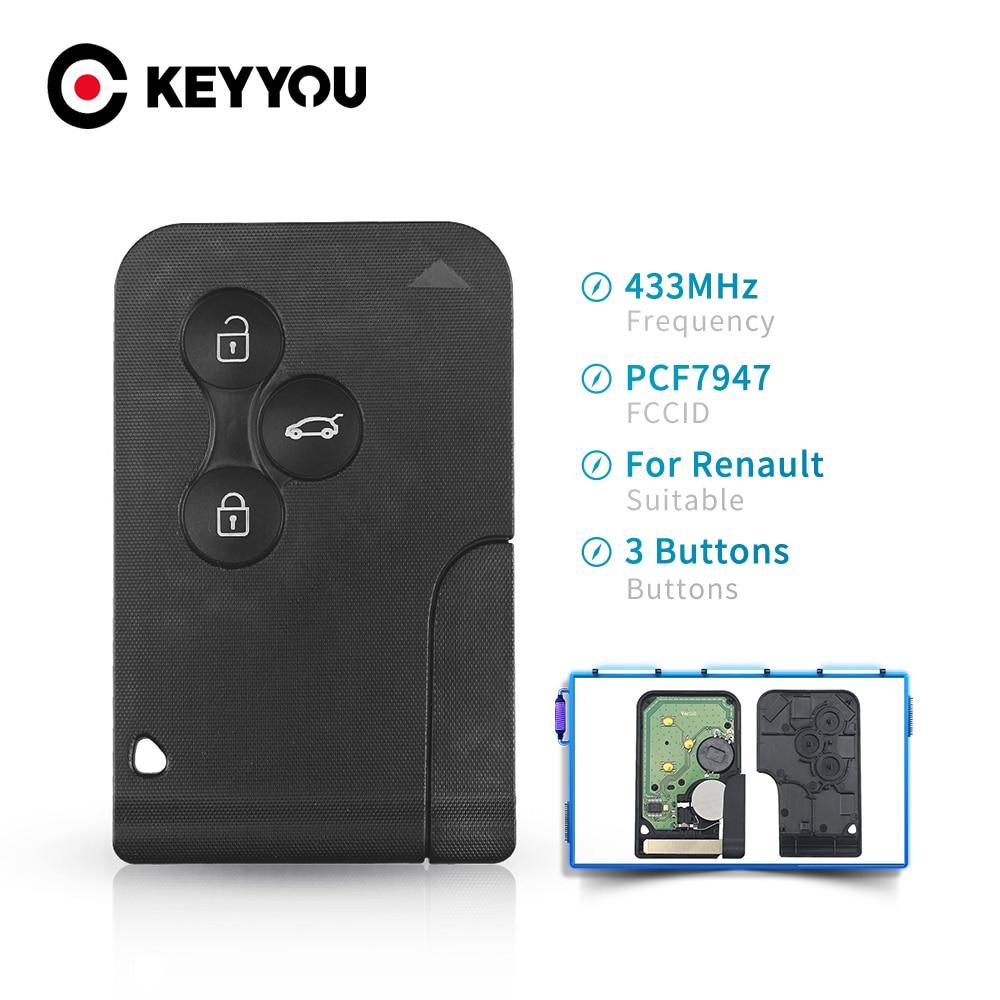 Keyyou id46 pcf7947 chip para renault clio logan megane 2 3 chave remota cênica 3 botões 433mhz cartão inteligente chave de inserção de emergência