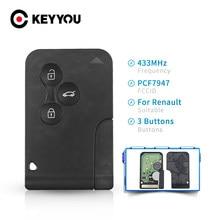 Keyyou ID46 PCF7947 Chip Voor Renault Clio Logan Megane 2 3 Scenic Afstandsbediening Sleutel 3 Knoppen 433Mhz Smart Card nood Insert Key