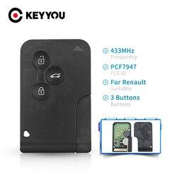 KEYYOU-carte-clé télécommande intelligente à 3 boutons, 433Mhz, transpondeur id46-pcf7947, pour voiture Renault Clio Logan, Megane 2 3, Scenic