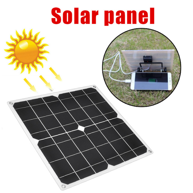 30W flexible Solar Panel 5V USB 3A Portable Monocrystalline Solar charger Cell for Car Yacht RV Charging Outdoor Emergency Light