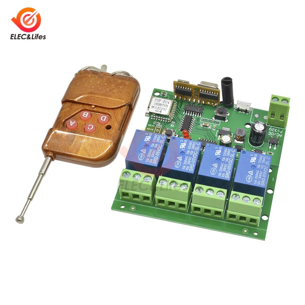5V 12V 220V Wifi Relay Switch 4 Channel Wireless Wi-Fi Relay Module 433Mhz Remote Control Switch DC 5-32V 2.4GHz b/g/n