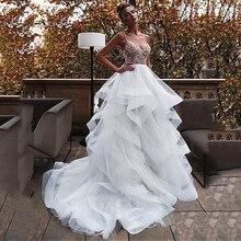 Vestido de novia de talla grande, Sexy, cuello en V, bola sin espalda, con cuentas, vestidos de novia tipo princesa, vestido de fiesta