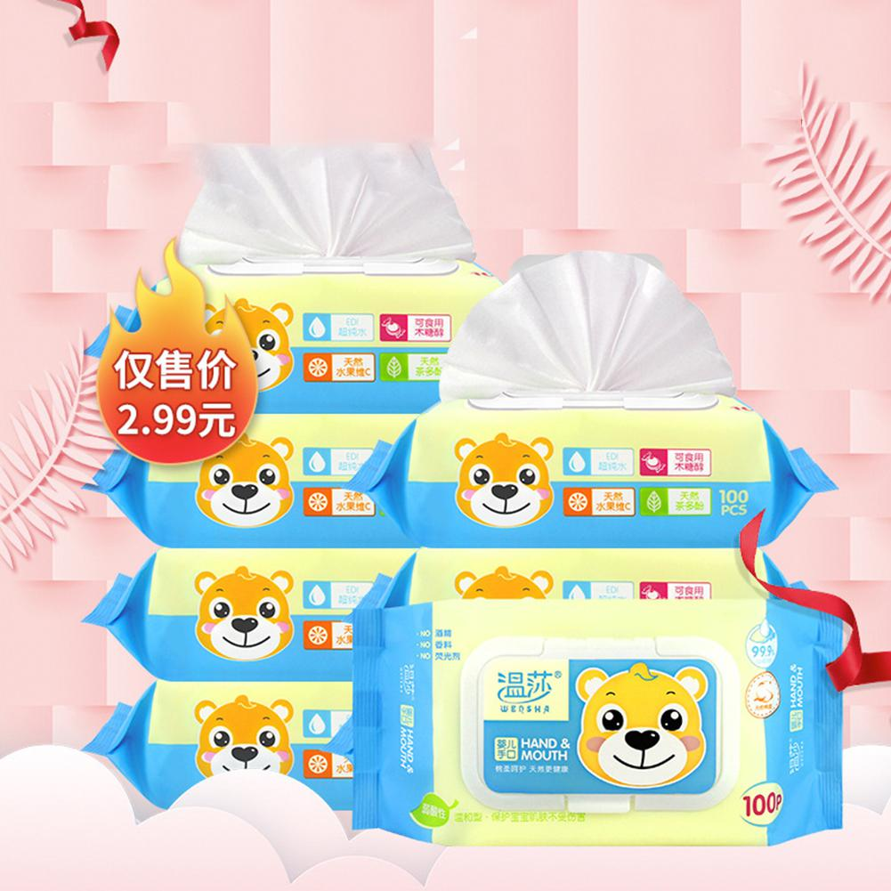 Cartoon Print Baby Wet Wipes Bag 100 Pcs/bag Portable Disposable Wet Wipes Cleaning Tool With Lid Skin Cleaning Care First Aid