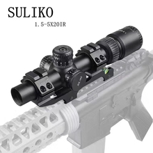 SULIKO 1.5-5×20IR Hunting Riflescopes Adjustable Red Light Tactical Scope Reticle Optical Rifle Fast Focus