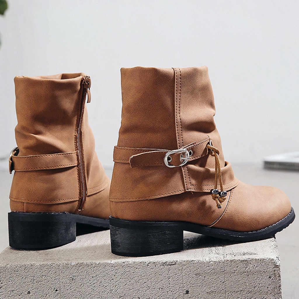 Nguyên chất Màu Mũi Tròn Khóa Dây Kéo Dây Giày Tất Vuông Chó Con Gót Vintage Giữa bắp chân Giày Bốt Martin Thời Trang giày Bốt nữ