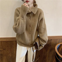 New Women Spring Cardigans Turn Down Collar Single Breasted Solid Color Sweater Female Knitted Loose Fit Tops Outwear(China)