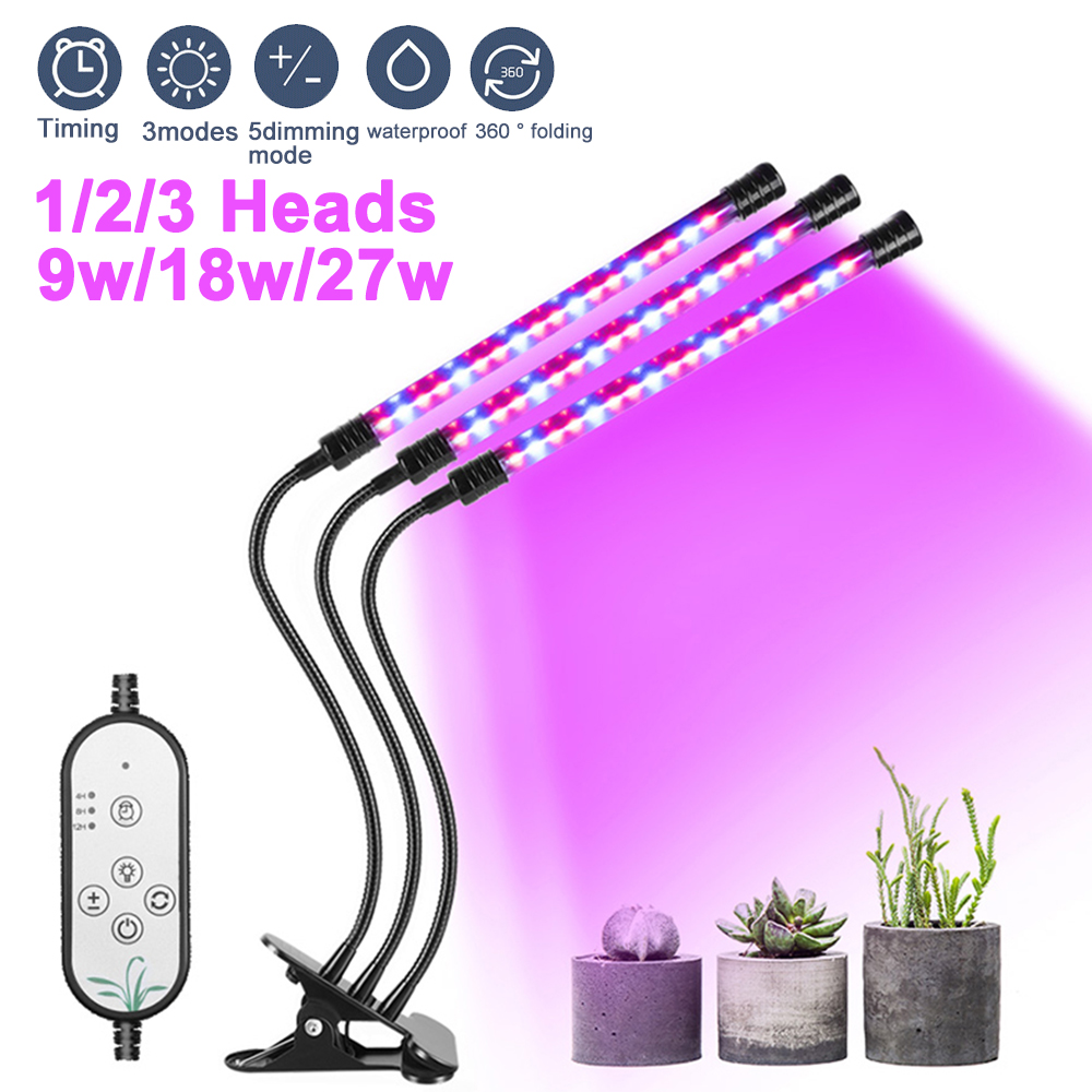New Full Spectrum LED Grow Light DC5V 9W 18W 27W Clip-on USB Powered Phyto Lamp Desktop Plant Growth Lighting For Indoor Flowers