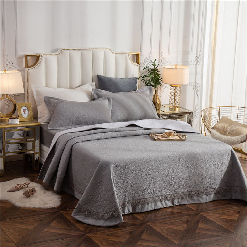 2020 new products Thickened Quilted CottonBedspread Fitted Sheet Pillowcases Cotton 2/3pcs Pure color Lace Bedding.