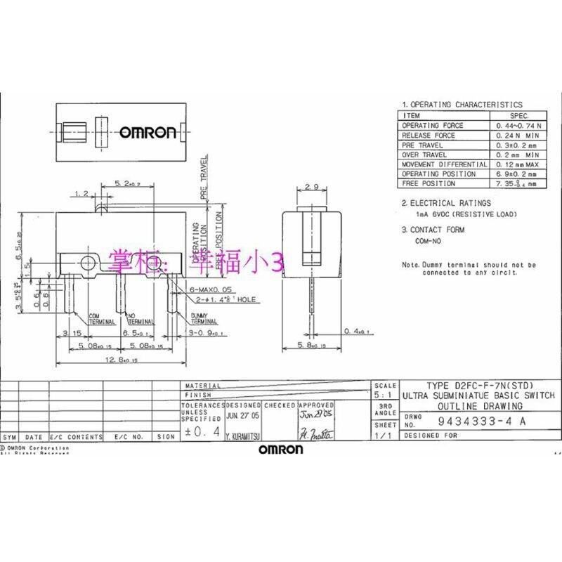CUCUDAI 2Pcs Original D2FC-FL-NH Red Dot Classic Mouse Micro ...