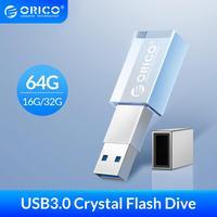 ORICO-USB 플래시 드라이브 3.0 크리스탈 64GB 32GB 16GB USB 3.0 플래시 메모리 USB 스틱 플래시 디스크 플래시 드라이브 저장 미니 U-디스크