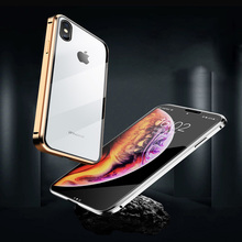 Metal Magnetic Adsorption Case For iphone 6 7 8 Plus  Phone Tempered Glass Magnet Protective Cover