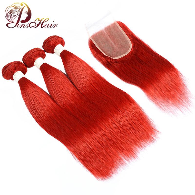 Pre-Colored Red Straight Hair Bundles With Closure Pinshair Nonremy With Baby Hair Brazilian Human Hair 3 Bundles With Closure