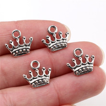 20pcs Charms crown 13x14mm Tibetan Silver Plated Pendants Antique Jewelry Making DIY Handmade Craft 20pcs tibetan silver plated flower connector charms pendants for bracelet necklace jewelry making diy handmade craft 24x18mm