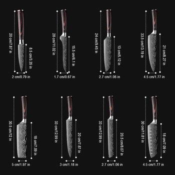 DEKO Kitchen Knives Set Sharp Professional Chef Knives 4CR13 Boning Damascus Japanese 7CR17 440C High Carbon Stainless Steel 4
