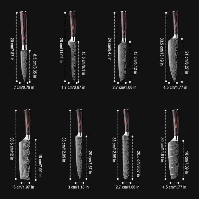 DEKO Kitchen Knives Set Sharp Professional Chef Knives 4CR13 Boning Damascus Japanese 7CR17 440C High Carbon Stainless Steel 3