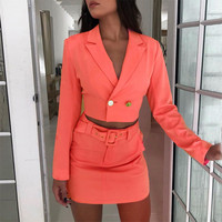 Ahagaga 2019 Office Lady Sets Long Sleeve Blazer Cropped Jacket Skirt With Belt 2 Piece Set Autumn Women Streetwear Outfits Suit