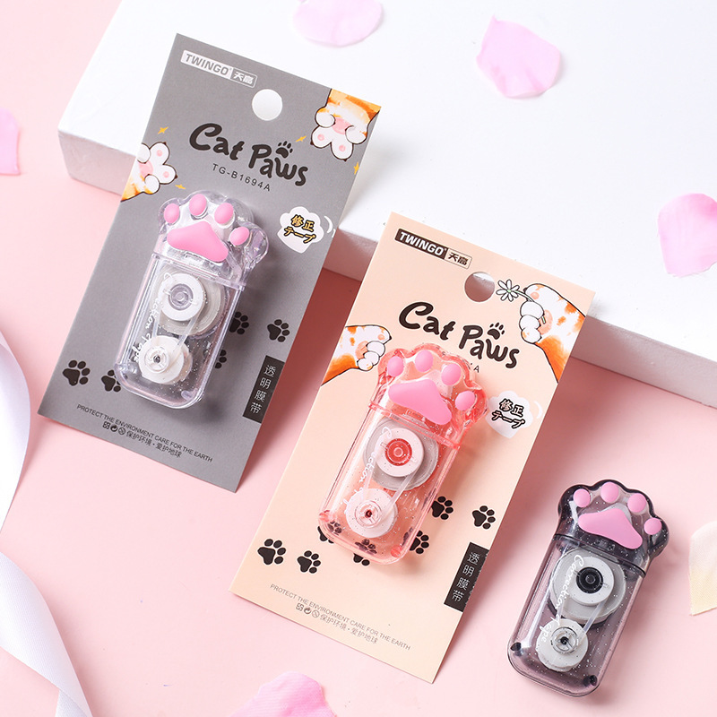 1X 6 Meters Long Cute Clear Cat Paws Mini Correction Tape School Office Supply Student Stationery Kids Gift