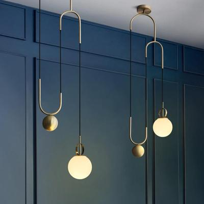 Nordic Gold Suspension Luminaire Modern White Glass Ball Adjustable Hanging Lamp Dining Room Bedroom Kitchen Home Pendant Lights