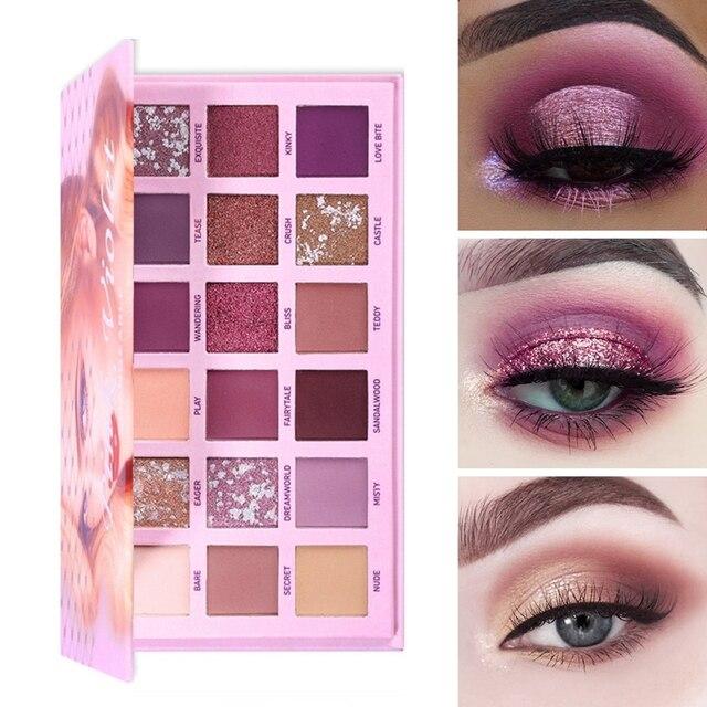 UCANBE Changeable Pink Violet Nude Eye Shadow Palette Makeup 18 Colors Matte Shimmer Glitter Eyeshadow Powder Waterproof Pigment