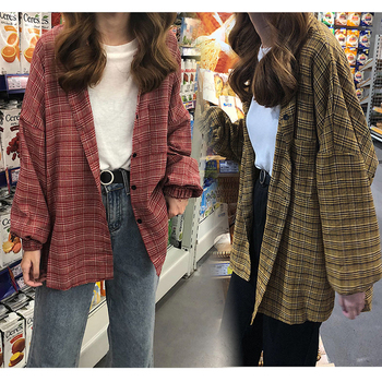 2019 New Woman Vent Vintage Plaid Shirt Single Breasted Turn down Collar Cotton Long Sleeve Button Feminina Sales T8D512Z 5