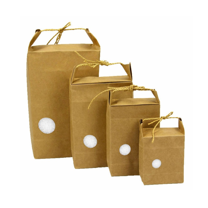 Kraft Paper Bag for Rice Flour Mooncakes Portable Gift Bag Blank Universal Food Packaging Pouch WB819