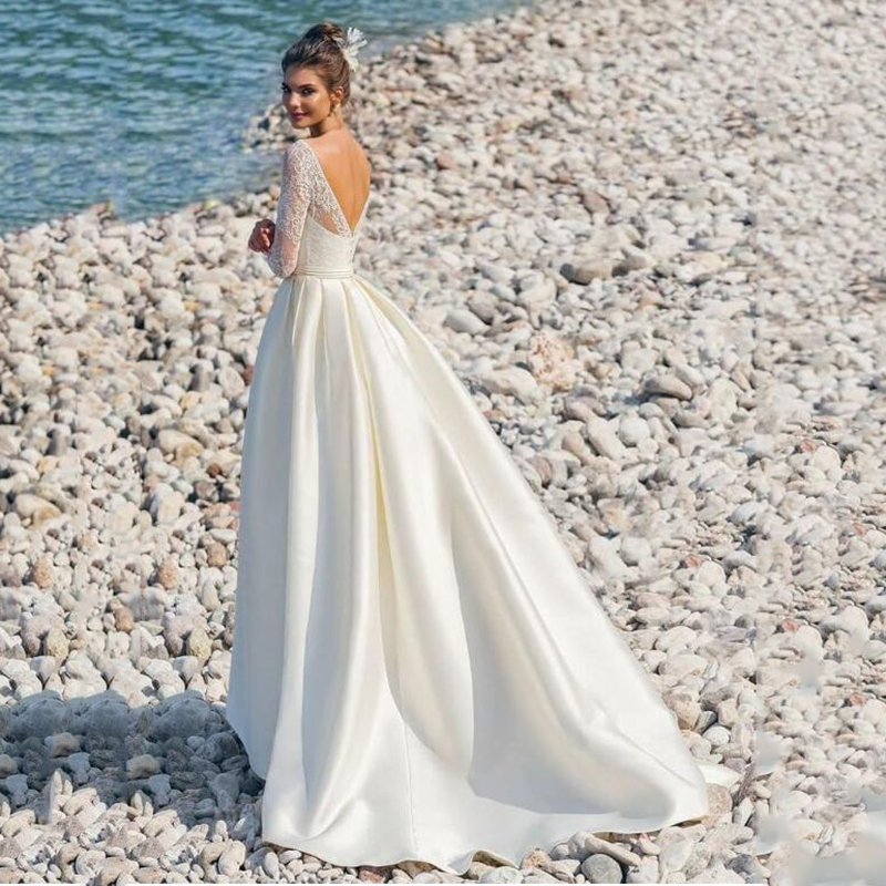 Modern Long Sleeves Lace Satin Wedding Dresses V-neck A-line Backless Beach Bridal Dress African Wedding Dresses Trouwjurk 2020