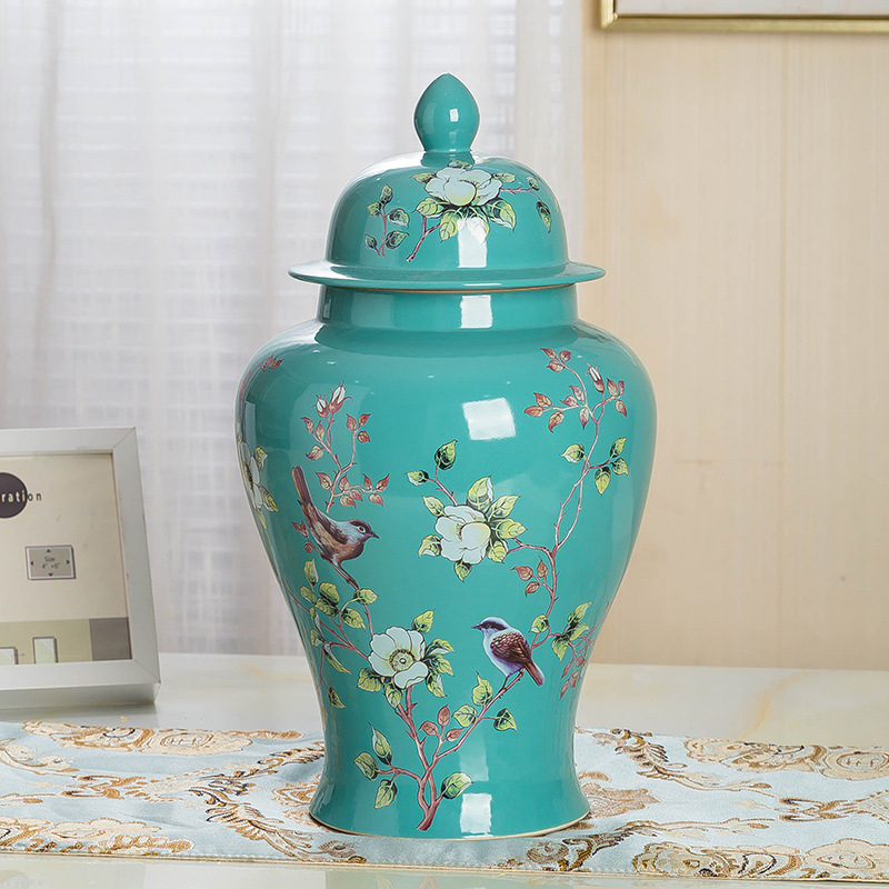 14 Inch Classic Chinese Vase With Lid Yellow Porcelain Floral Temple Ginger Jar Ceramic Table Vase Antique Centrepiece Jindezhen