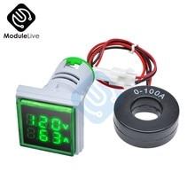 Voltmètre numérique de couleur verte, ampèremètre de tension, détecteur de courant, testeur carré vert, outils 220V