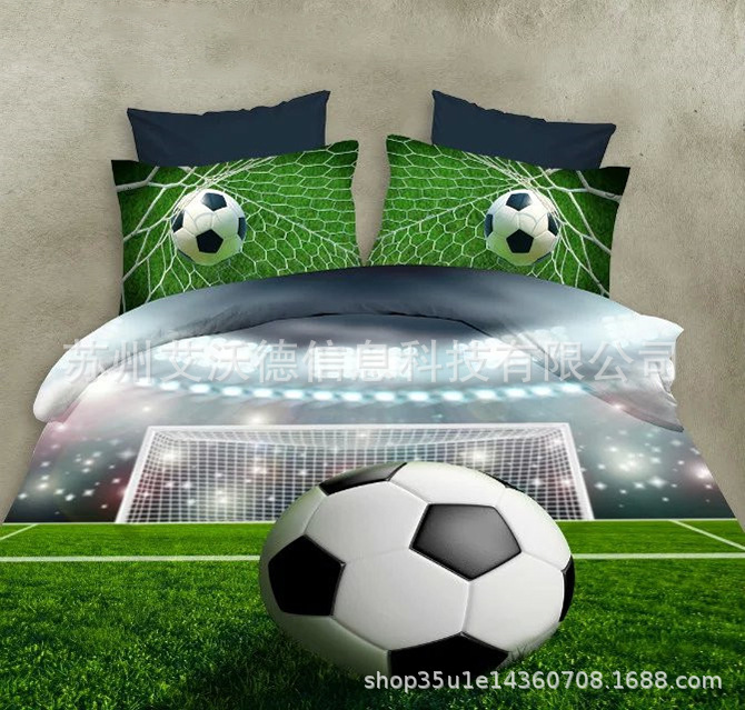 Europe And America Hot Selling 3D Sports Football Quilt Cover Pillow Case Sheet Bedding Article Hot Sales Printed Four-piece Bed