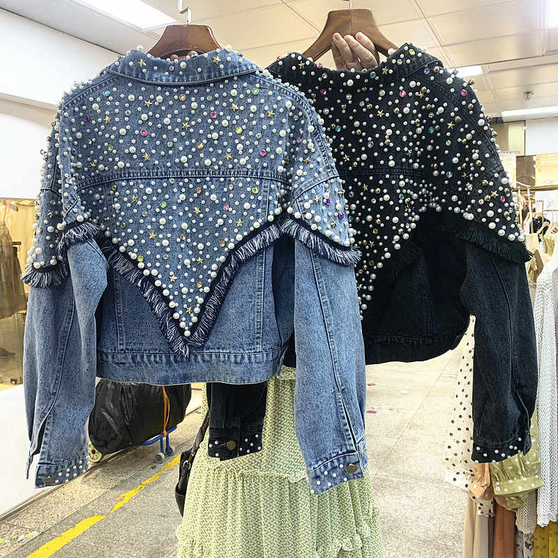 2019 autumn new heavy work beaded diamond loose short denim jacket