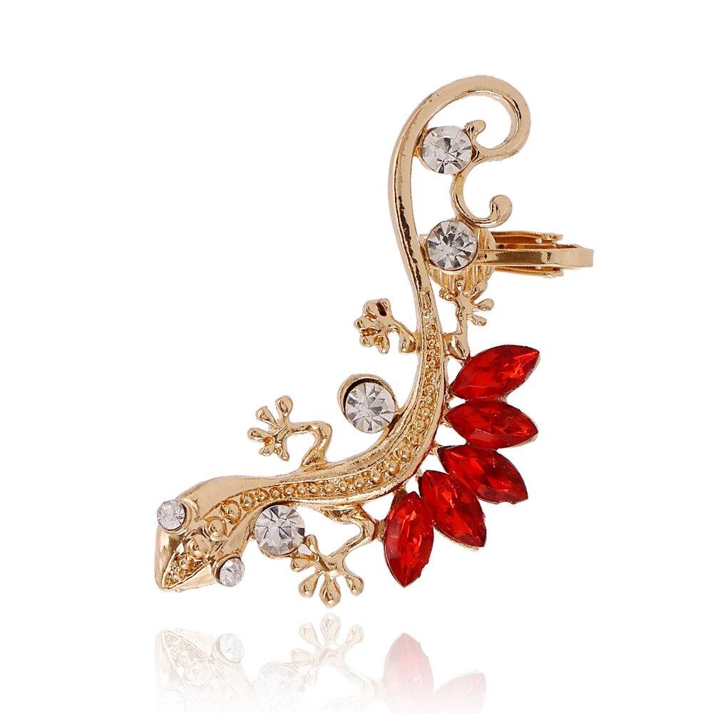 1PC Gothic Punk Crystal Lizard Ear Cuffs Animal Clip Earrings for Women Gold Color Alloy Rhinestone Animal Geckos Clip 1E1135
