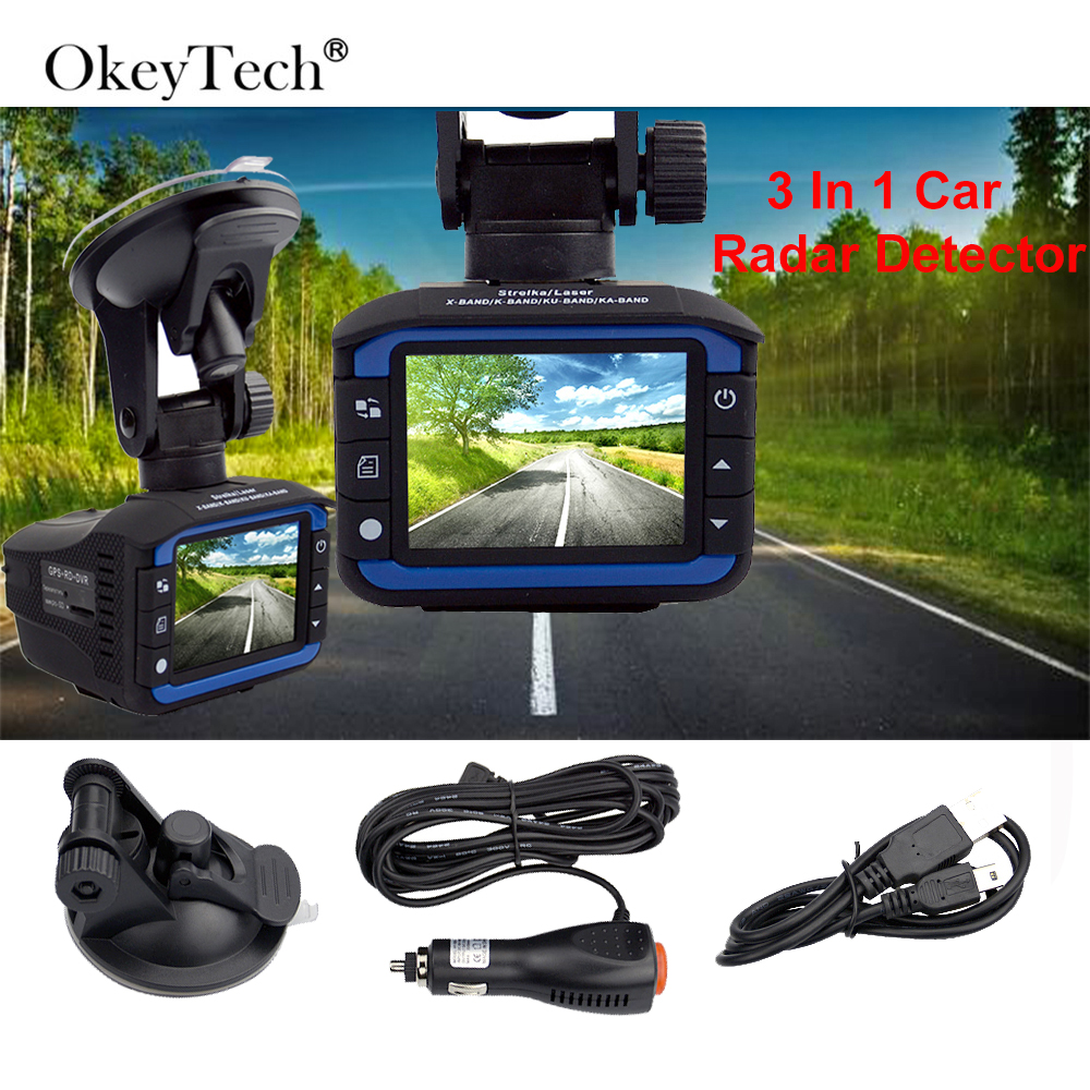 OkeyTech <font><b>3</b></font> <font><b>In</b></font> <font><b>1</b></font> <font><b>Car</b></font> <font><b>Radar</b></font> <font><b>Detector</b></font> <font><b>GPS</b></font> Tracker <font><b>DVR</b></font> Alarm System Warning Device 2.0 Inch Display 140 Degree Lens Russian Version image