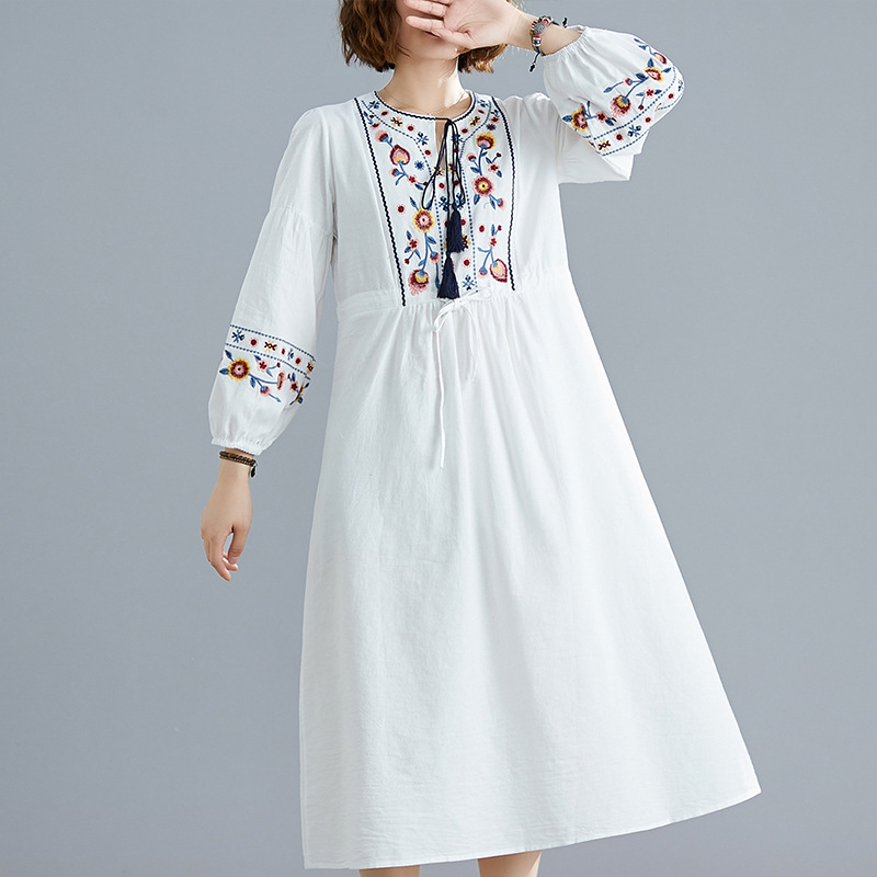2019 Autumn Clothing Literature And Art Large Size Loose Cotton Linen Embroidery Waist Hugging Medium-length Dress