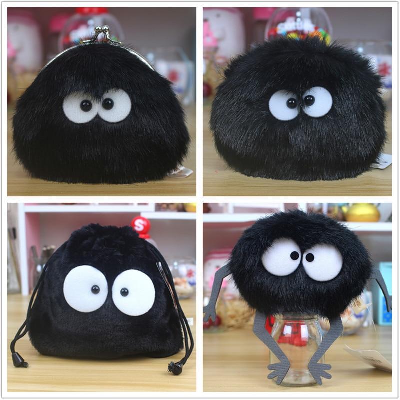 Miyazaki Spirited Away Coal Elf Doll Plush Coin Purse Drawstring Bag Black Carbon Briquette Coin Bag Pendant