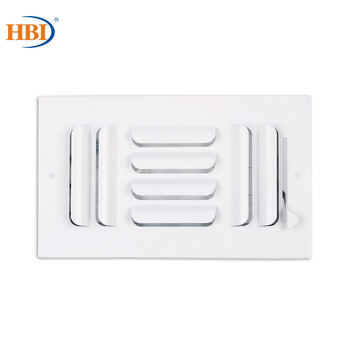 HBI 3-Way W8 x H4 Curved-Blade Ventilation Grille Air Outlet Valve Air Supply Register Air Vent Cover Steel Ceiling/Sidewall curved air curved air airborne cd digisleeve