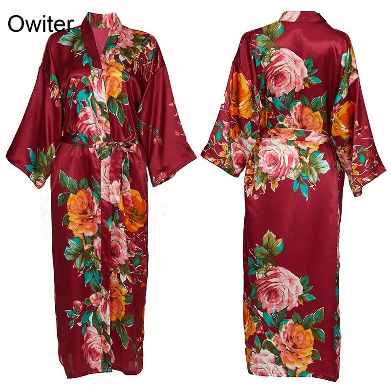 Women Silk Satin Robes Wedding Bridesmaid Robe Bride Robe Gown kimono Peony robe