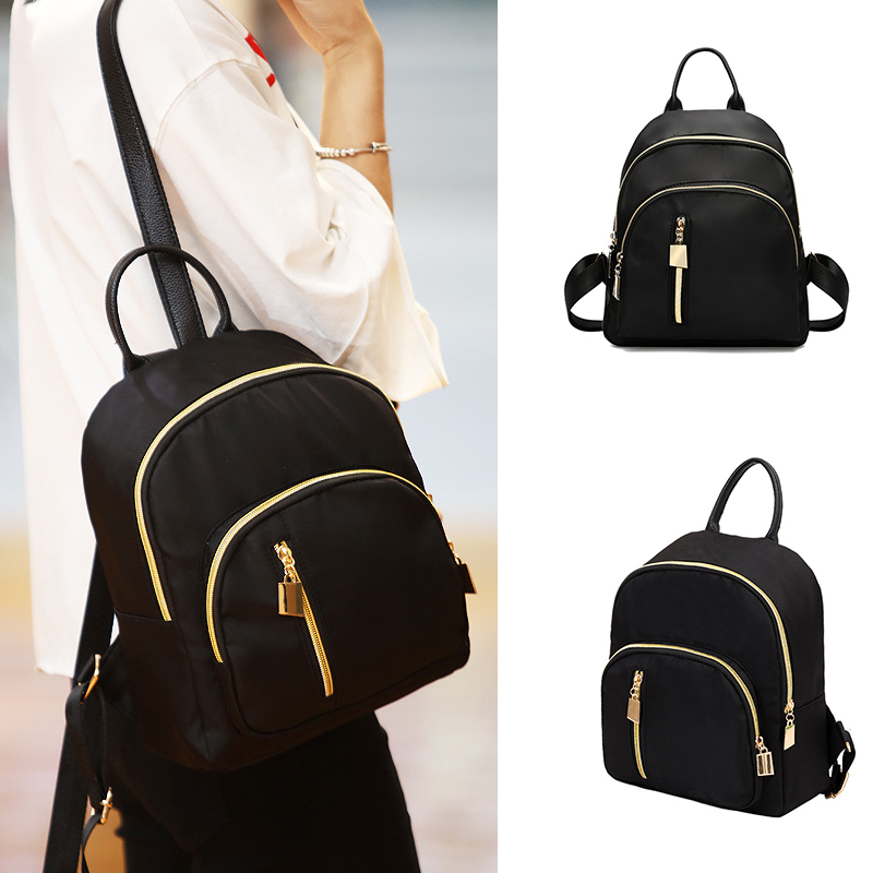 Fashion Women Girl Small Backpack Travel Zipper Closure Backpack Oxford Daypack Schoolbag Gift Embossing Softback Polyester